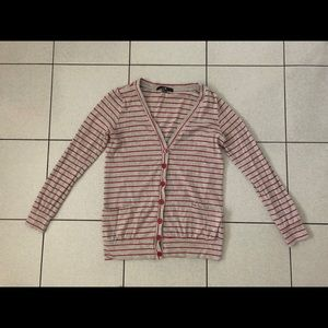 Forever 21 red & grey stripe cardigan